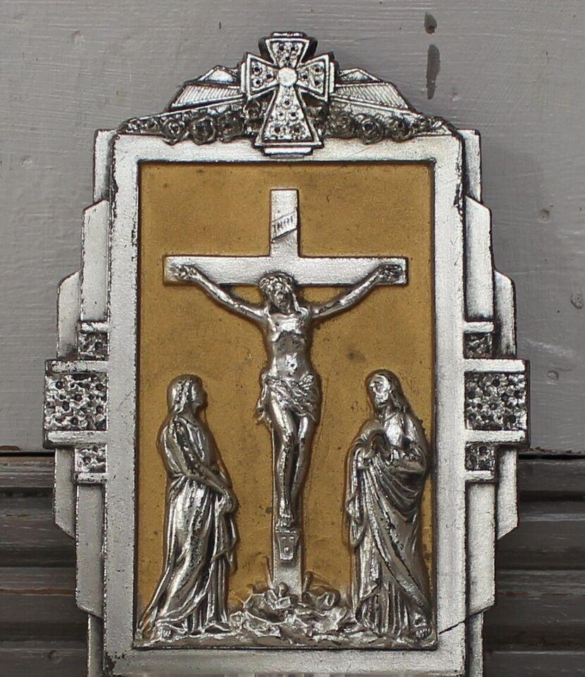 Gammelt sjælden fransk benitier med Kristus, Fransk