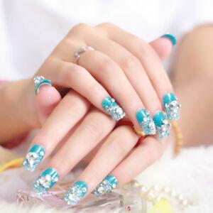 24-Pcs-Set-Glitter-Blue-Bride-3D-Fake-Nails-Wrapped-Tips-Artificial-False-N-E-AF