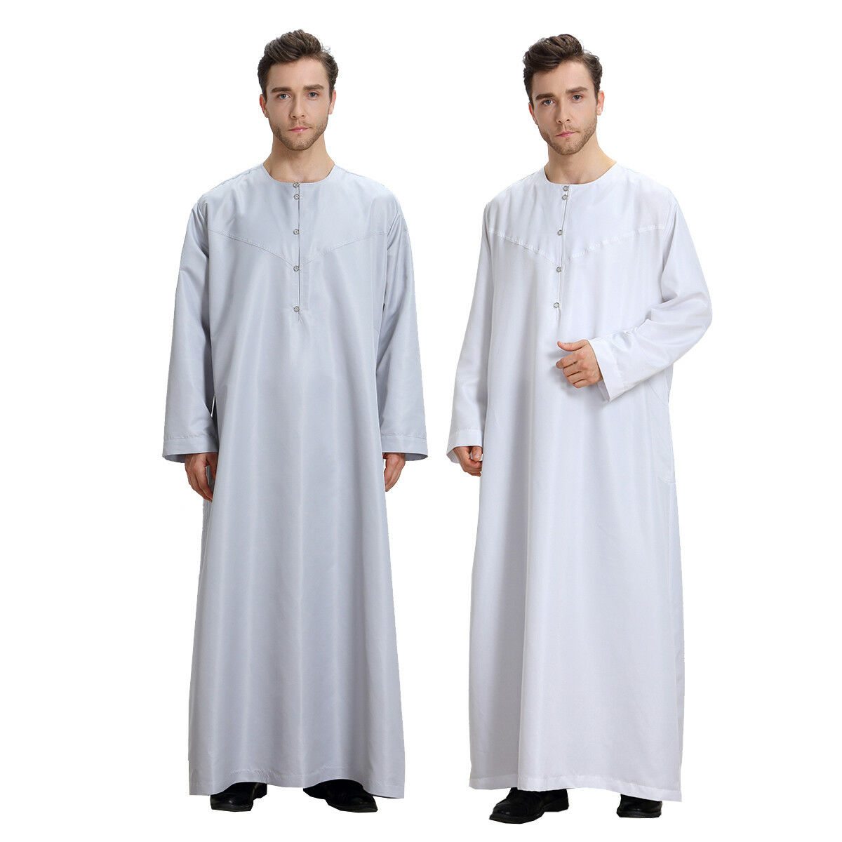 Muslim Men Long Sleeve Thobe Saudi Arab Kaftan Islamic Abaya Dress Dubai Robe