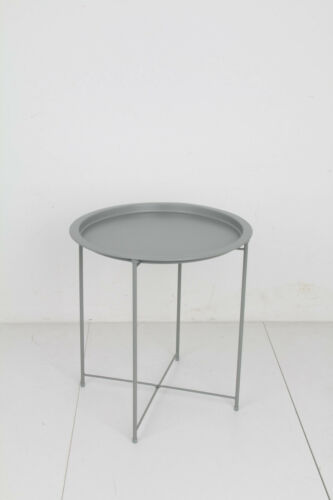 Round Tray Table Folding Side Contemporary End Metal Detachable* 24HR DELIVERY