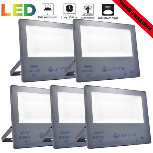 5X 100W LED Flutlicht Fluter Mit Bewegungsmelder Warmweiß Strahler Außenlampe DE