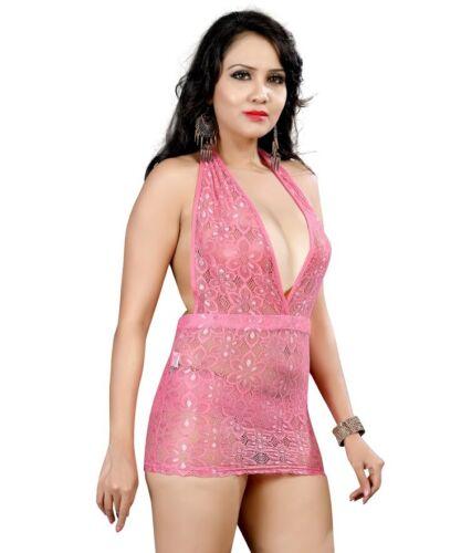 DENTELLE FILET Micro Mini Femme Rose Ladies Club Party Dos Nu Court Robe 524