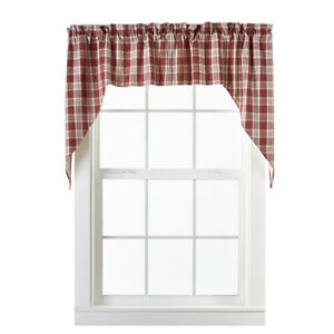 Details about country cabin farmhouse kitchen Barnyard burgundy plaid  pattern Swags curtains