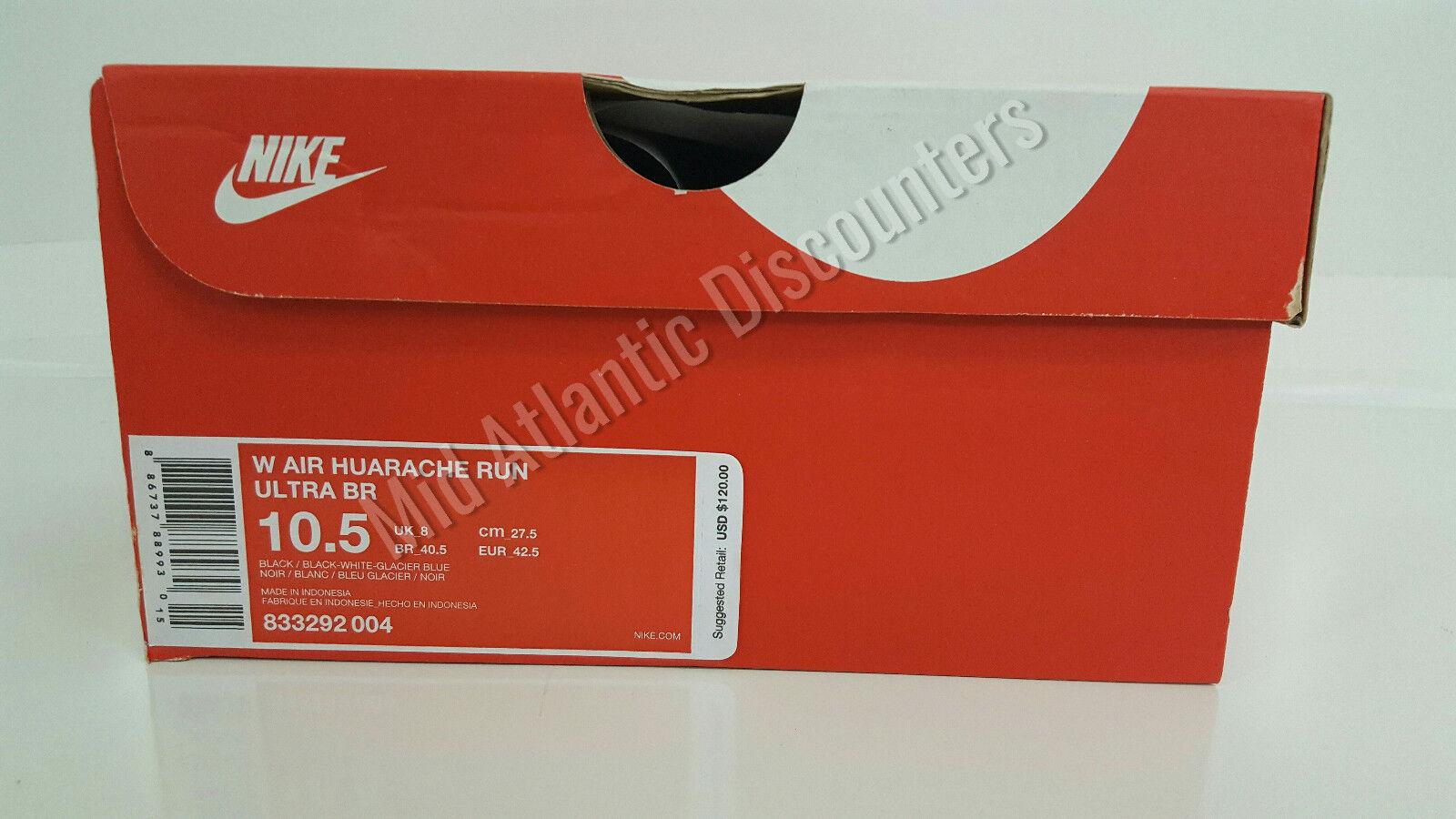 Di nuovo huarache in scatola della nike air huarache nuovo ultra br nero correre w / nero bianco ghiacciaio blue 66b4bc