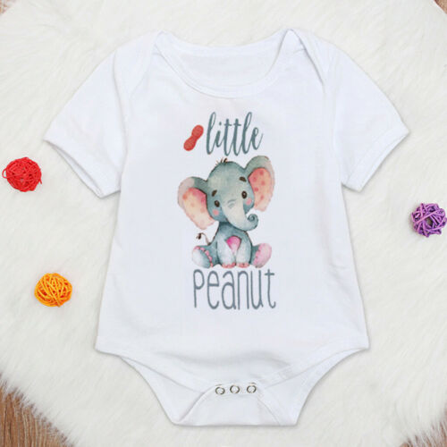 Toddler Kids Baby Girls Boys Letter Elephant Tops Bodysuit Romper Casual Clothes