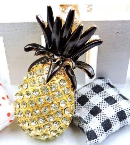 Betsey Johnson Necklace PINEAPPLE HAWAII ALOHA Yellow Black Gold Crystal  LK