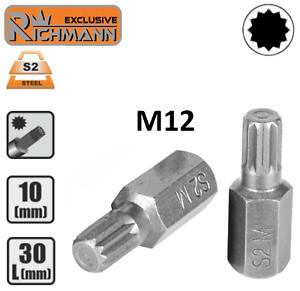 Embout-M12-SPLINE-XZN-12p-entrainement-10mm-3-8-034-Acier-S2-HAUTE-QUALITE-RICHMANN