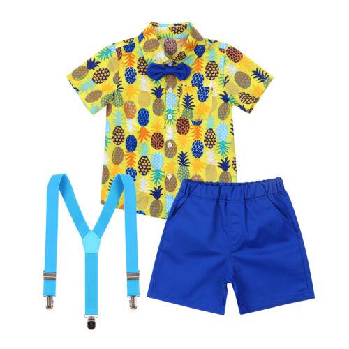 Shorts Outfit Summer Toddler Boys Gentleman Clothes Kid Hawaii Beach Top Shirt