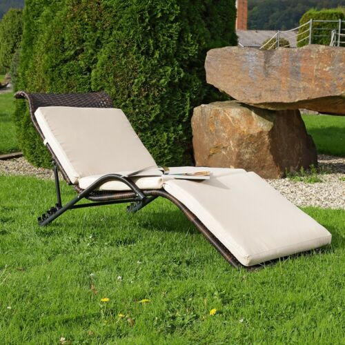 Da giardino lettino lounge lettino prendisole Nero//Marrone con edizione RATTAN LETTINO RATTAN