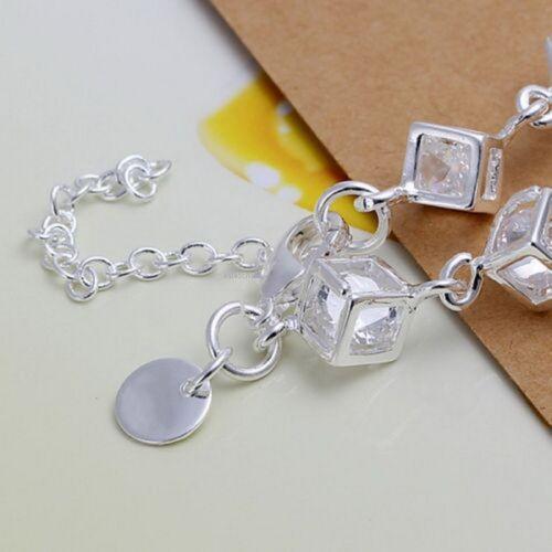 UK ladies 925 Sterling Silver Pltd Charm Box Crystal Chain Bracelet Bangle 1106