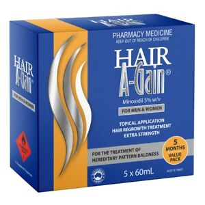Hair A-Gain Hair Regrowth Treatment 5 x 60mL (5 Months Supply) Minoxidil 5% w/v