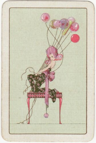 Playing Cards 1 Single Swap Card BALLOONS Old Vintage Art Deco LADY GIRL