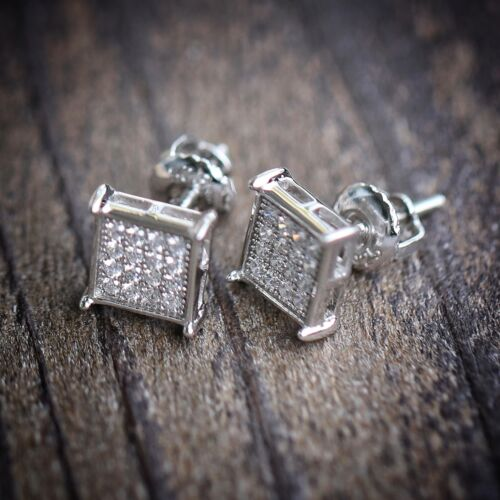 Mens Silver Hip Hop Screw Back Earrings Studs