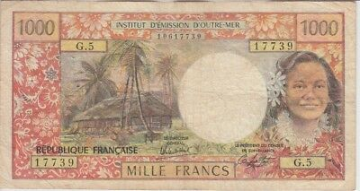 Tahiti Banknote P26c-7739 F Vivid And Great In Style 1000 Francs Sig 4 Alphabet G.5