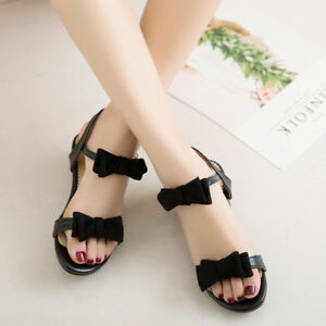 Womens Cute Bowknot Peep Toe Ankle Strappy Sandals Girls Flats Roma ...