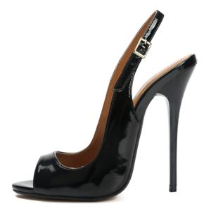 Patent black patent slingback stiletto