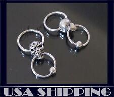 1 pair Stainless Steel Silver Tone Skull Men's Studs Earrings Halloween gift