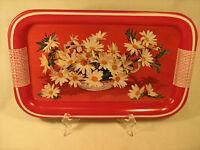 Vintage Metal Serving Tray 14 X 9 Flowers In Basket [y87]