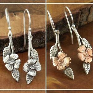 Vintage-925-Silver-Flower-Earrings-Ear-Hook-Dangle-Drop-Women-Wedding-Jewelry