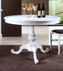 Tavolo Da Pranzo Rotondo In Legno Allungabile Laccato Bianco Opaco Da 120 T453 Ebay