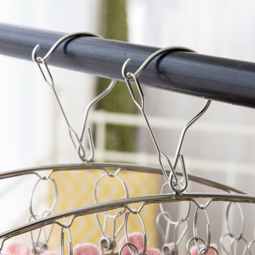 2Pcs Stainless Steel Socks Clothes Hangers Laundry Drying Hanger with 10 Clips