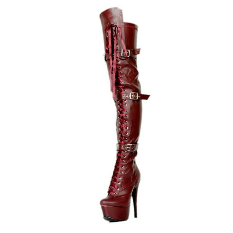 Womens High High High Stiletto Heels Buckle Lace Up Zipper Over The Knee Thigh Boots shoes f95398