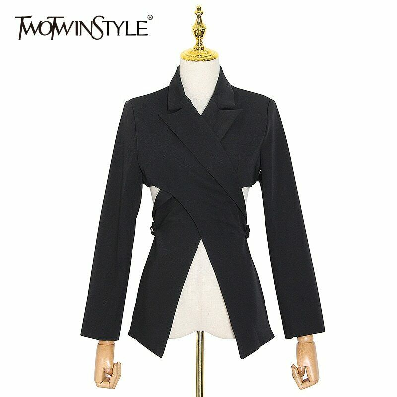 Twotwinstyle Hollow Out Blazer for Women Notched Collar Long Sleeve Casual