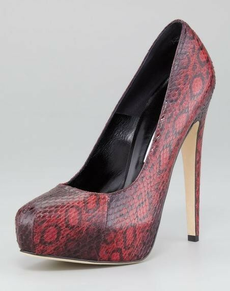 BRIAN ATWOOD Maniac Burgundy Watersnake Platform Pump Heel shoes 42 NIB