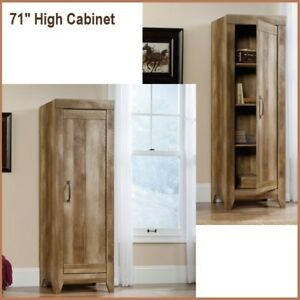 Details about Tall Kitchen Cabinets Storage Rustic Wood Oak Pantry Armoire  Bathroom Bedroom