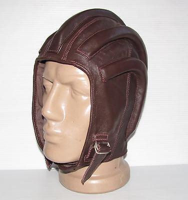 Vintage Brown Leather Ribbed Motorcycle Helmet  #24815