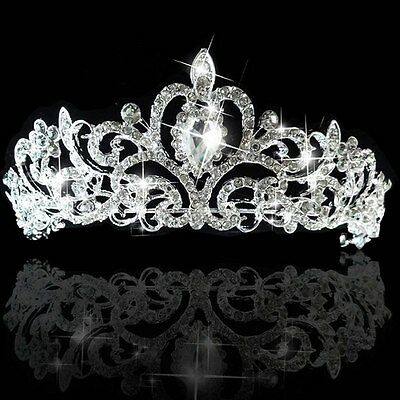 Bridal Princess Wedding Austrian Crystal Silver Tiara Crown Veil Hair Accessory