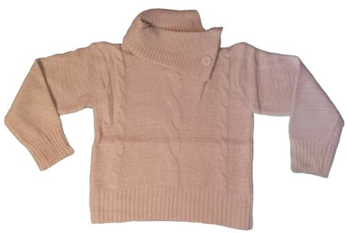 New Girls Knitted Sweater  Long Sleeve Top Jumper Shrug White Pink 2-12y #203