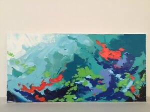 "Original Painting Abstract Landscape Acrylic Art on canvas  Blue White 10""x20"""