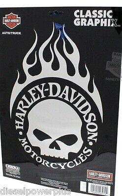 harley davidson motorcycle decal sticker BIG shield chrome flame willie g SKULL