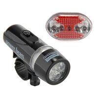 Bike Bicycle Waterproof White 5 LED Head Lamp Light + Red Rear Flashlight
