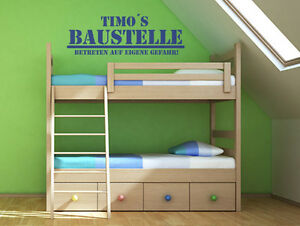 wandtattoo spr che kinderzimmer baustelle mit name wunschtext wand tattoos ebay. Black Bedroom Furniture Sets. Home Design Ideas