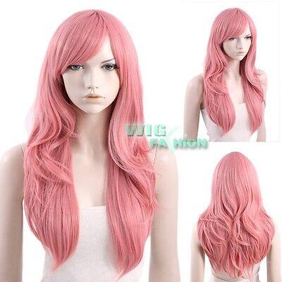 65CM Heat Resistant Long Wavy Milkshake Pink Fashion Hair Wig