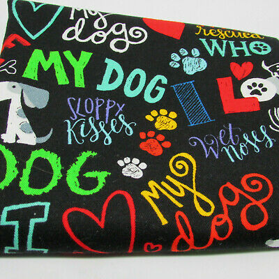 Timeless Treasures Dog Head Squares Panel Red 100/% Cotton Fabric
