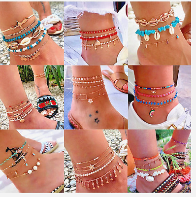 Details about  /Women Anklets Layered Gold Ankle Bracelet Shell Pendant Chain Leg Accessories