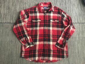 Polo-Ralph-Lauren-Matlock-Mens-Large-Button-Up-Flannel-Shirt-Long-Sleeve-Red