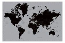 WORLD MAP POSTER contemporaneo nero e argento stile 91cm x 61cm