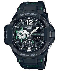 Casio-G-Shock-Gravitymaster-Analogue-Digital-Black-Green-Mens-Watch-GA1100-1A3-G