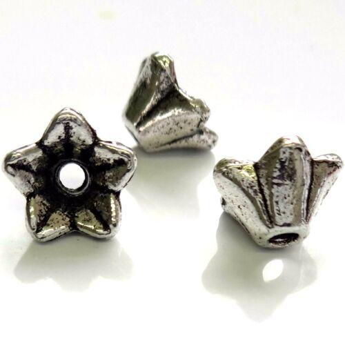 40 Tibetan Silver 9x5mm Flower Beads Findings