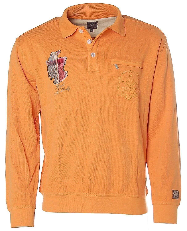 K1580 KITARO Sweatshirt Sweater Polokragen M Orange NEU