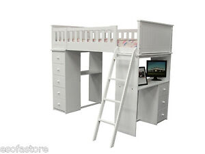 Willoughby Kids Girls Cottage White Wood Twin Loft Bed with Chest Hutch #10970A