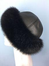 Regular Women/'s Size Black Fox Fur Hat With Dark Brown Mink on Top Saga Furs