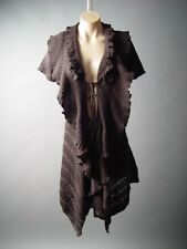 Brown Flounce Ruffle Collar Women Jumper Sweater Cardigan Coat 106 ac Jacket S/M