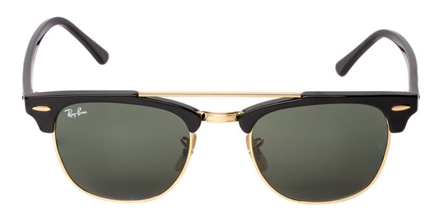 fcf4149ae3749 Ray Ban Clubmaster Double Bridge RB3816 901 51 Green Lens Sunglasses