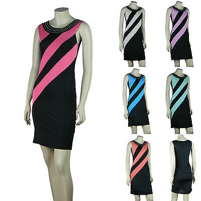 Color Block Sleeveless Mini Dress Rhinestud Embellished S-XL MD128