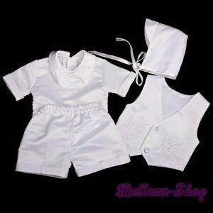 4 Pcs Baby Boy Satin Baptism Christening Short Sleeves Suit Bonnet Sz 6-9m ST019